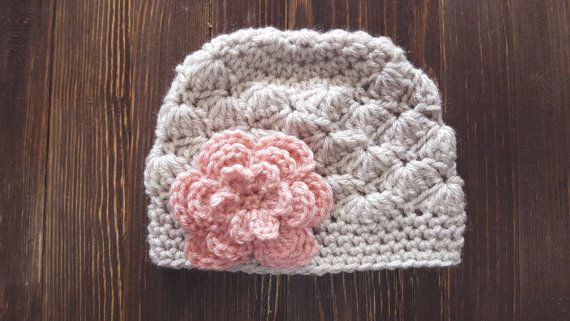 Crochet Girls Hat - Linen and Pink Hat by Pumpkin Pie Creations