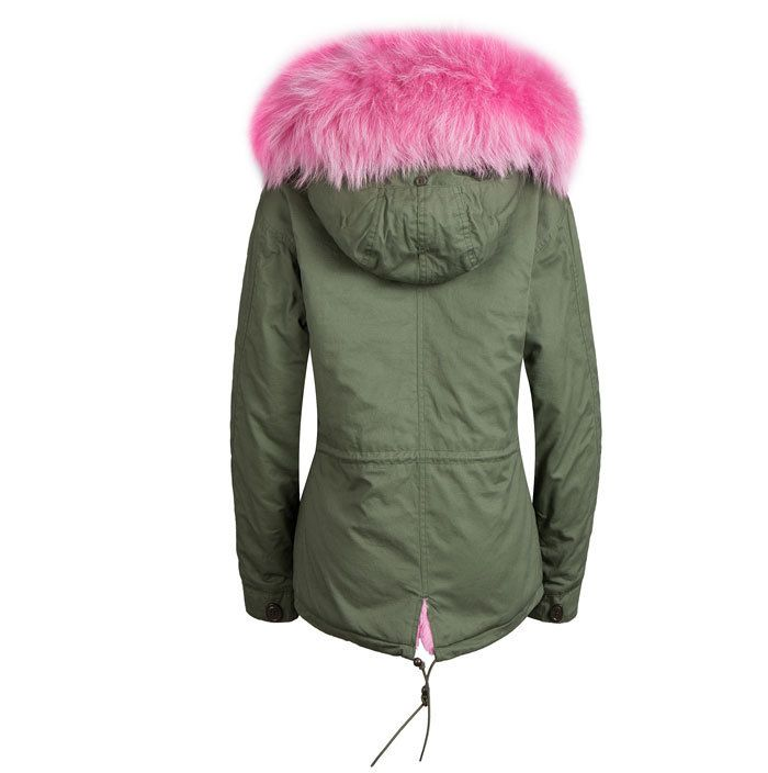Green coat with faux fur collar