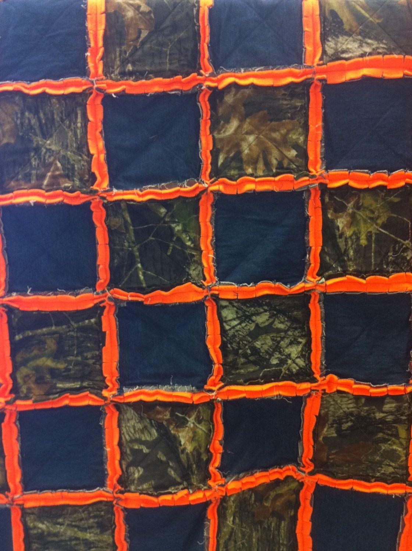 Mossy Oak Camoflauge Rag Quilt Hunters Orange Rag Quilt