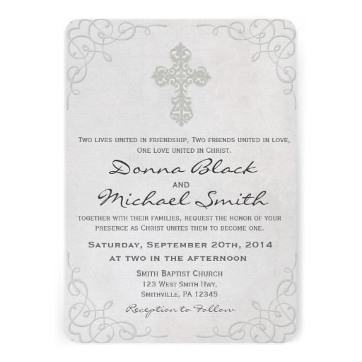 Delicate Cross Religious Wedding Invitations