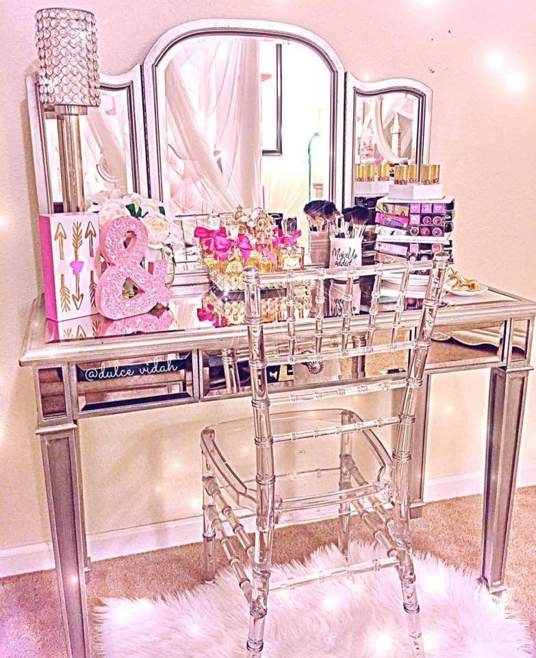 Needs WAAAAY Less Pink☆ Clear Chivari Chair For Vanity.