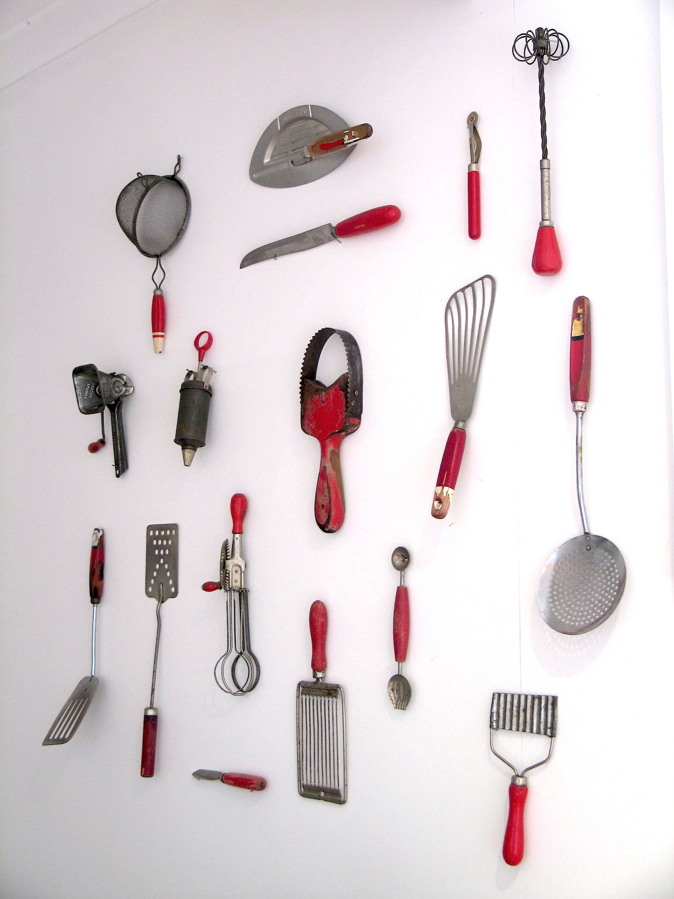 Unusual Cooking Utensils My Kitchenalia Wall Collection Of Red Vintage