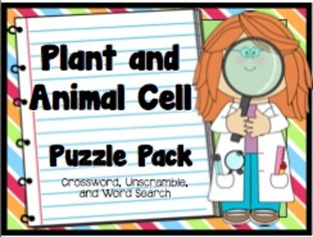 Plant And Animal Cell Puzzle Pack Includes A Crossword Puzzle With Word Bank And Clues An Unscramble Puzzle With Secre Plant And Animal Cells Animal Cell Cell