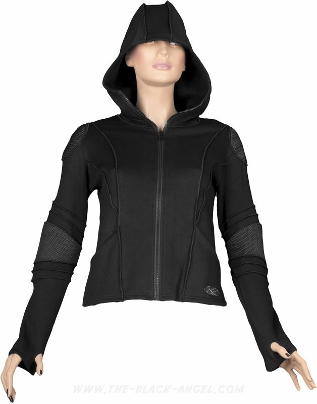 Gothic cyber jacket with hood, from the Queen of Darkness women's clothing line.