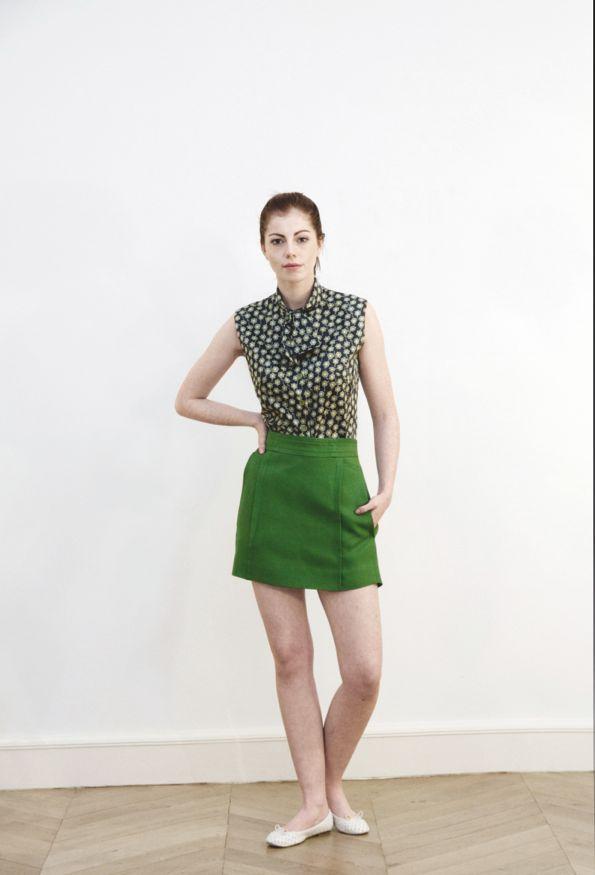 Vintage sewing Tonje Thoresen green skirt