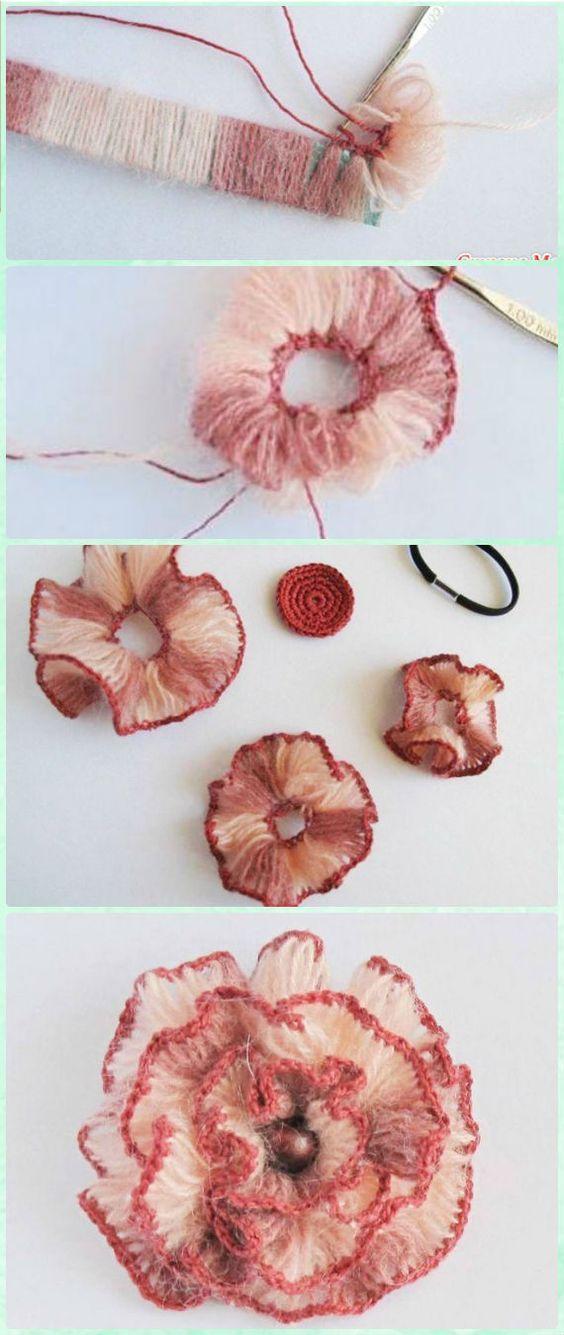 Crochet Broomstick Lace Flower Free Pattern - Crochet 3D Flower Motif Free Patterns