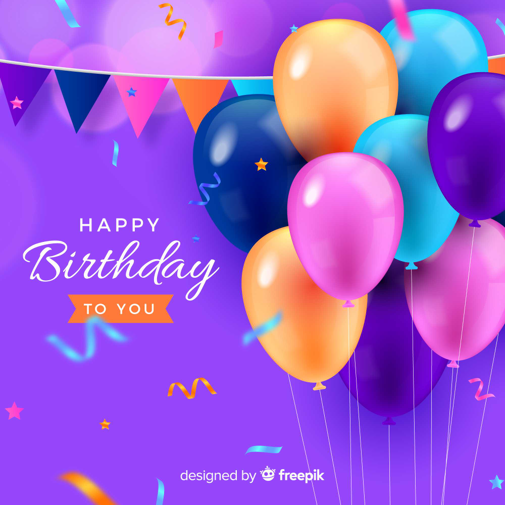 Download Realistic Style Happy Birthday Background for