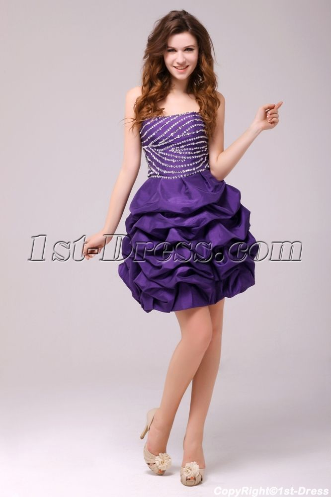 1st-dress.com Offers High Quality Fancy Purple Bubble Short Cocktail ...