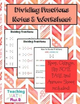 Dividing Fractions Worksheet and Notes   Fractions ...