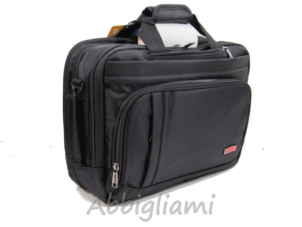 52e555f8c7da2 Borsa 24 Ore Zaino Con Tracolla Custodia PC Documenti Ufficio 389 Nero