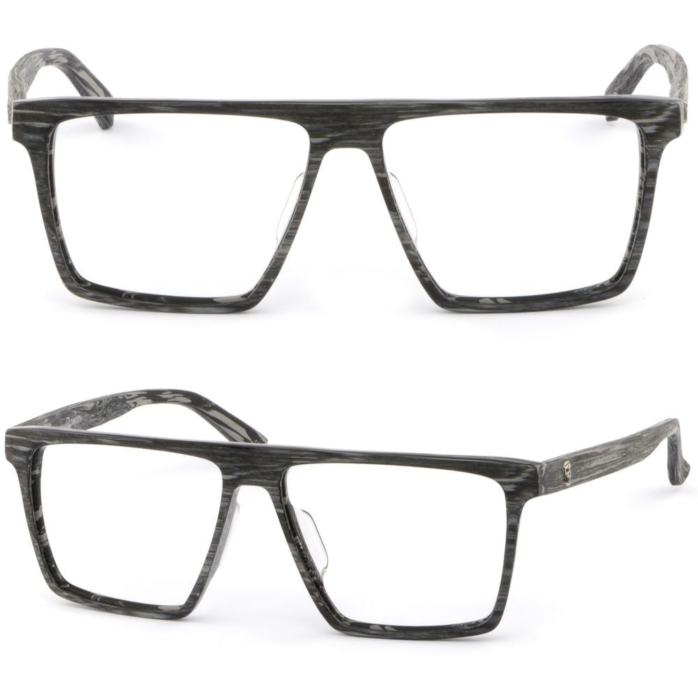 5a32af92c0 Large Men Acetate Plastic Frame Wood Grain Silver Skull RX Prescription  Glasses  Unbranded
