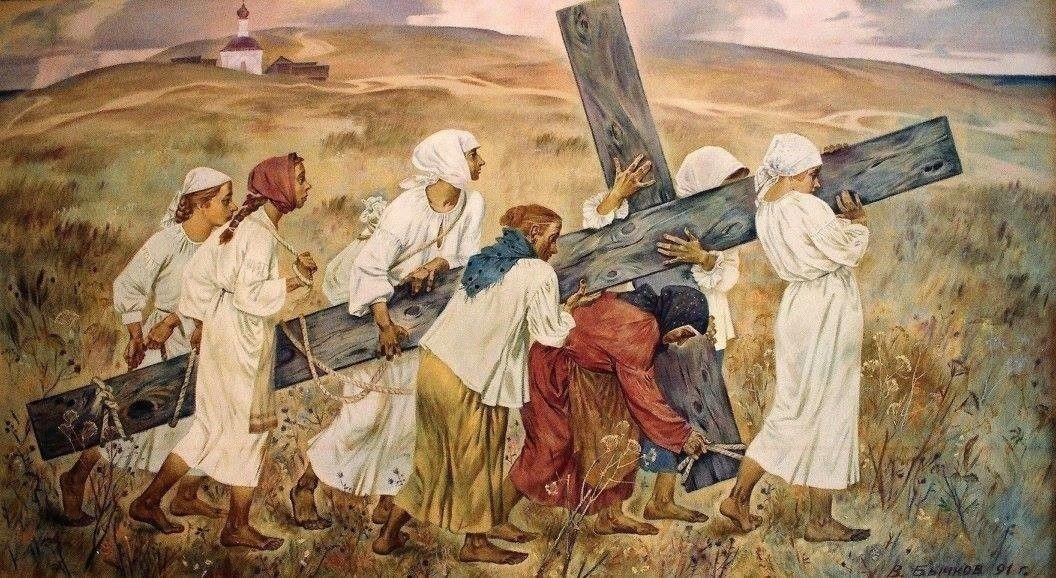 прекрасно крест в картинах художников человек, находящийся
