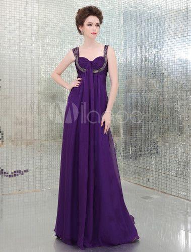 789f8826a7 Vestido de noche de seda elástica de color lila con tirantes de estilo dulce  - Milanoo.com