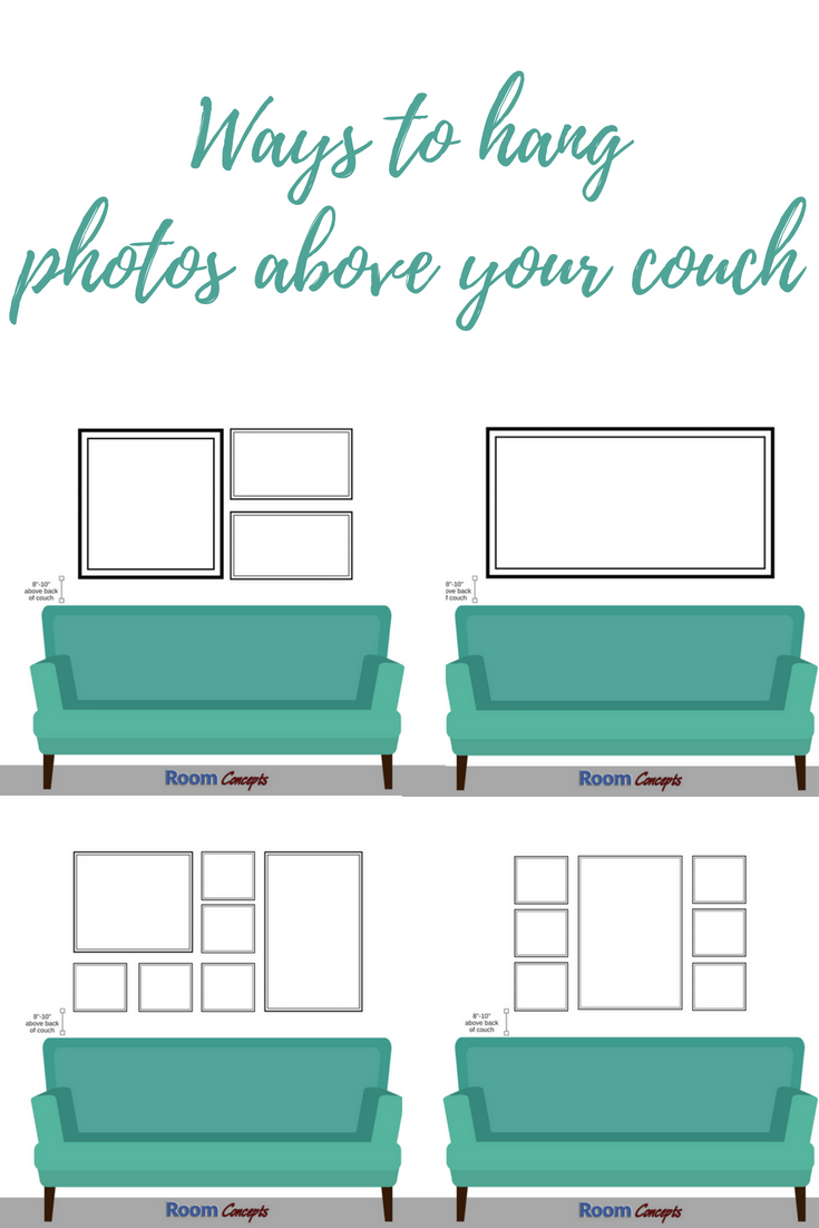 Design Tip When Hanging Photos And Mirrors Above A Couch You Want To Make Sure The Bottom Edge Of The Frame Is Hanging Photos Above Couch Mirror Wall Bedroom