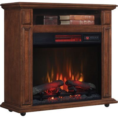 Classicflame Rolling Mantel With Infrared Quartz Fireplace Walnut Fireplace Electric Fireplace Mantel
