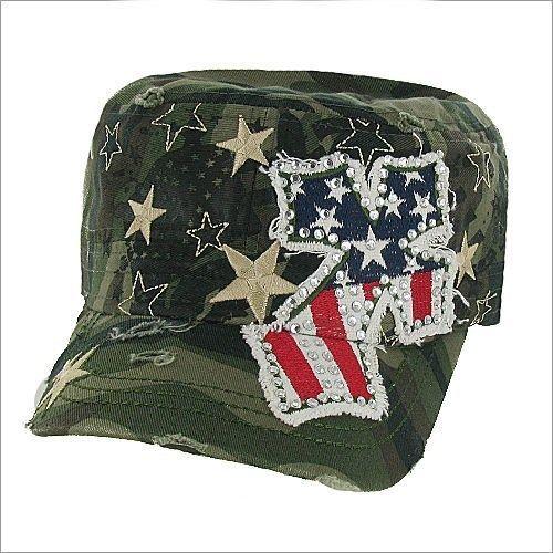 AMERICAN Flag Hat Star Rhinestone Patriotic Cowgirl Cadet Texas CAMO Cross  Cap  Western  CadetMilitary 4a705db2bc