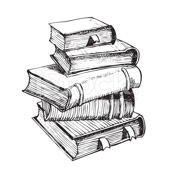 Vector Hand Pen Drawing Of Pile Of Books Book Drawing Pen