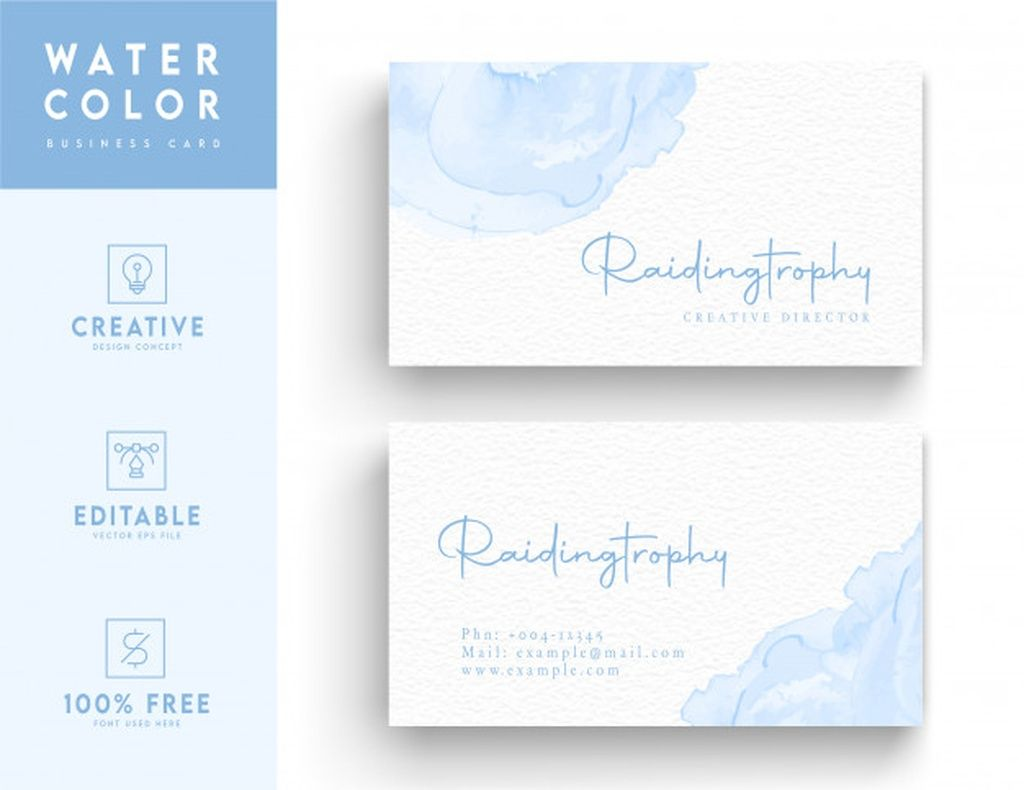 Water Color Business Card Template Sky Blue Water Color Business Card Design Concept Paid Paid Pa Watercolor Business Cards Business Card Design Cards