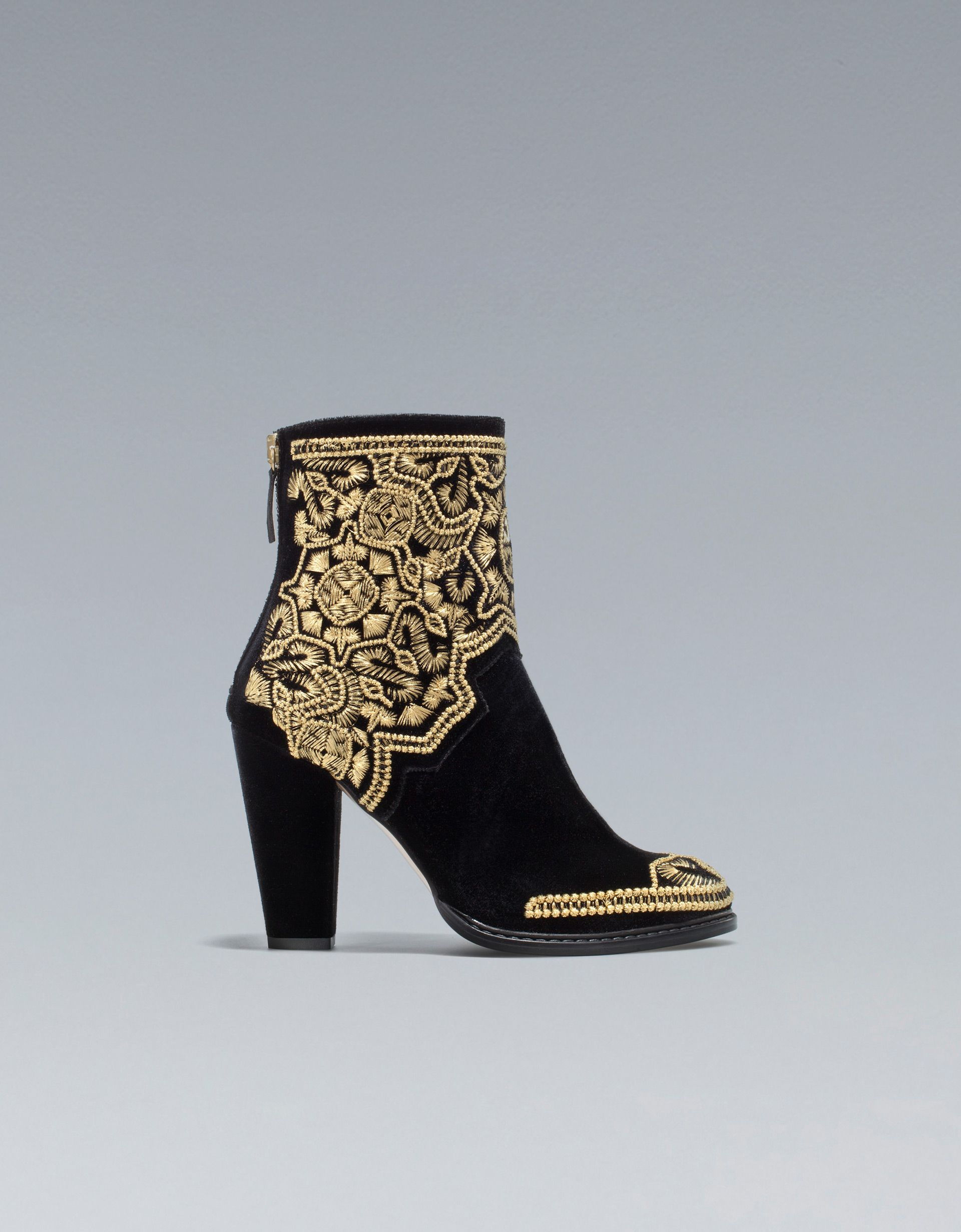 Zara's Gold Embroidered Ankle Boots ($169) are the perfect way to cap off