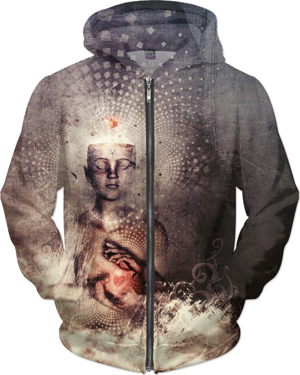 Green Spirits Zipup Sweatshirt - Trippy Hoodie - Rave Clothes - EDM Festival Clothing Hoody HhPsG