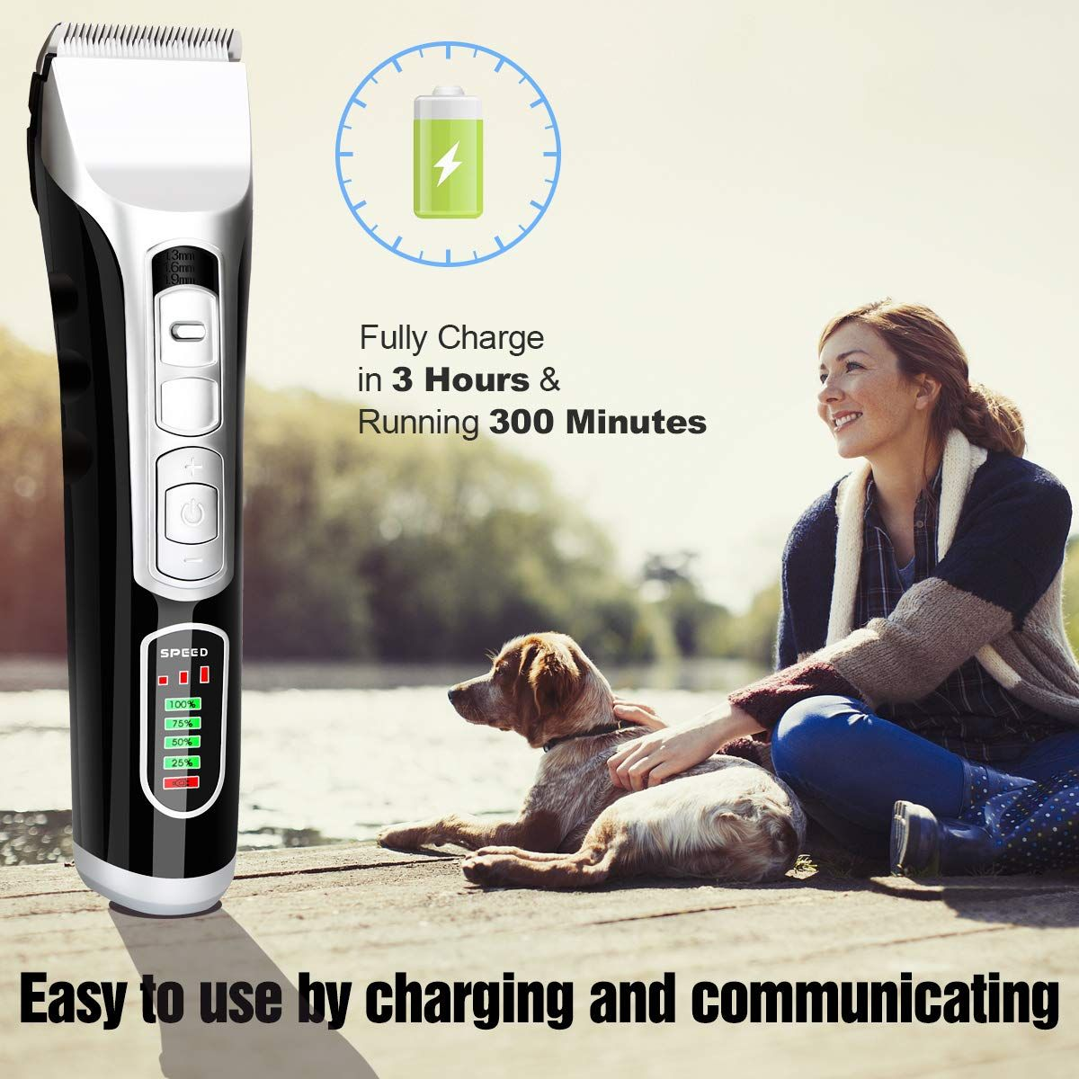 Dog Grooming Clippers Kit Professional Pet Cordless Low Noise Clippers Hair Trimmer With Sharp Blades Rechargeable Quiet Hair Clipper W Dog Grooming Clippers Dog Grooming Dog Grooming Supplies