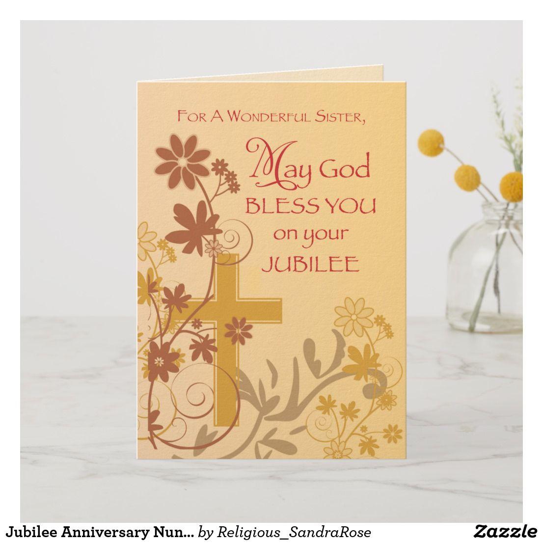 jubilee anniversary nun cross swirls flowers  l card