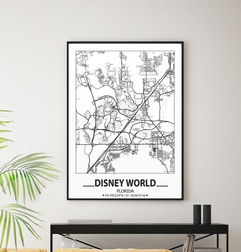 Disney World Map Print Disney World Wall Art Prints Travel Etsy Disney Wall Art Usa Map Art Map Wall Art
