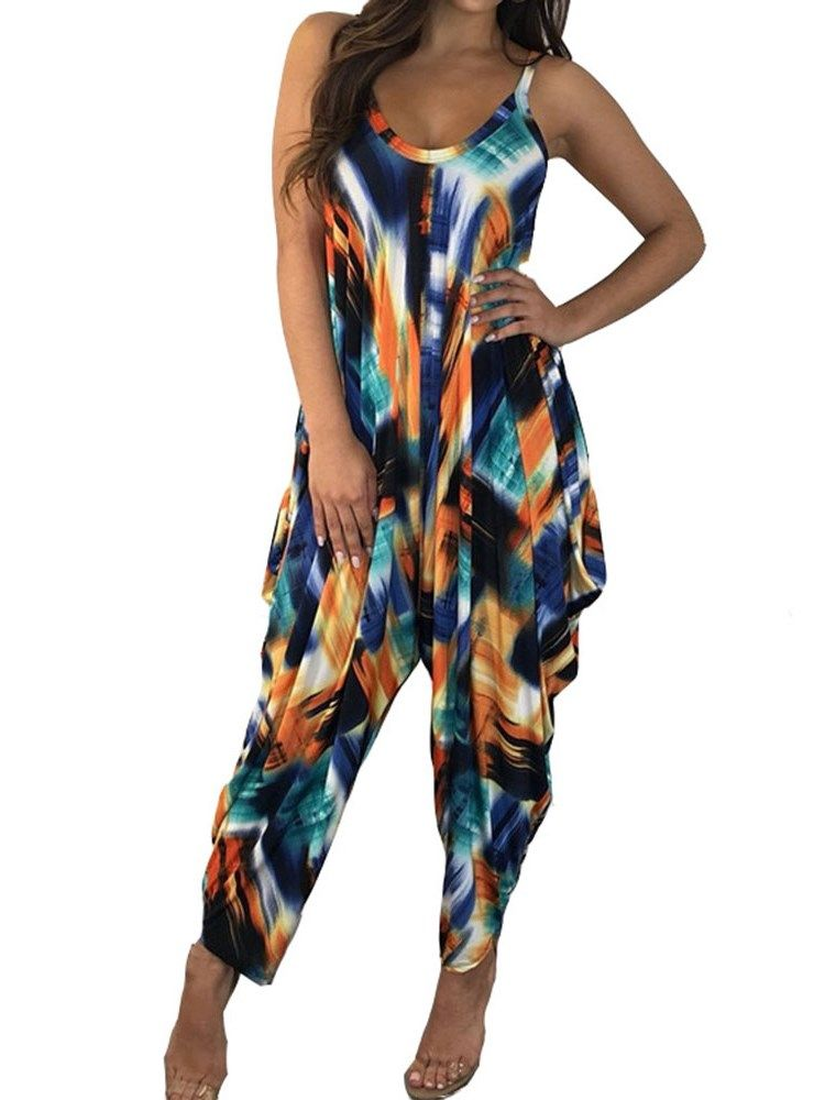 8031aedbc09f3 Western Color Block Ankle Length High Waist Harem Pants Jumpsuit ...