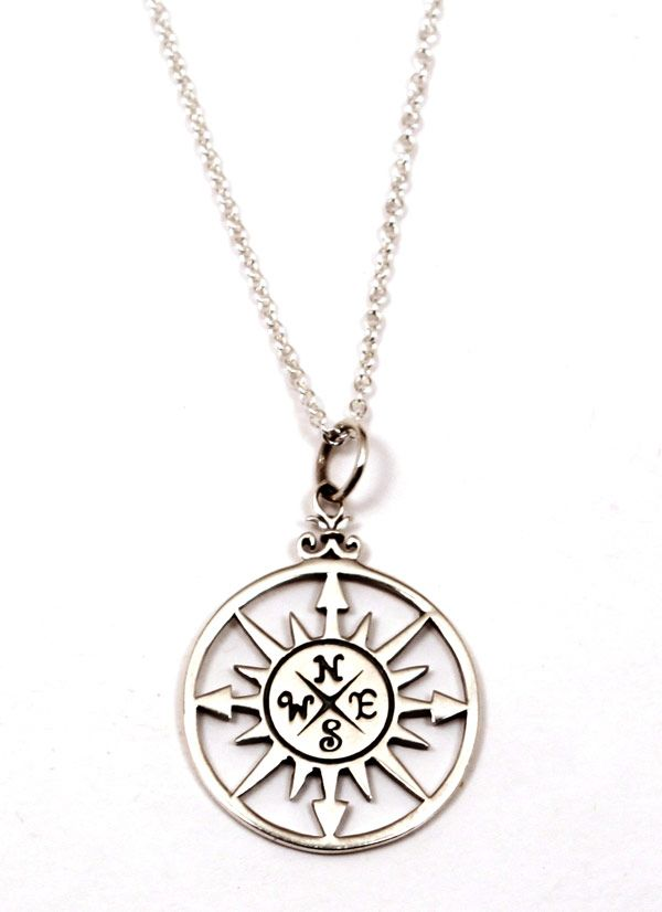 Compass inside circle necklace