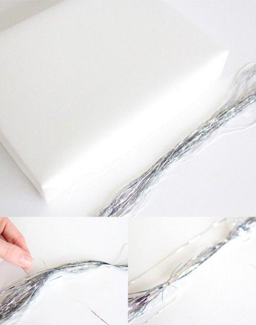 DIY Sparkly Gift Wrap Ideas Tinsel Gift Wrap Bow
