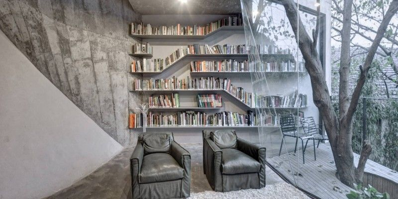 Modern Tea House with Stunning Library by Archi-Union Architects