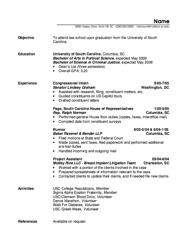 Example Of Congressional Intern Resume http