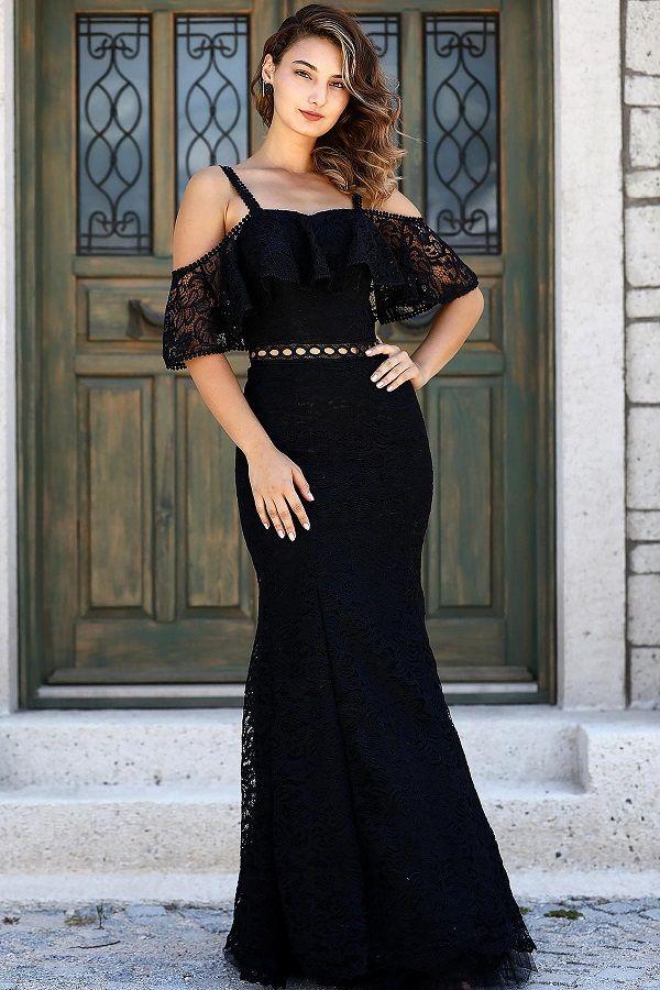 فستان سهرة دانتيل أسود موديل سمكة Black Lace Evening Dress Lace Evening Dresses Lace Dress Black