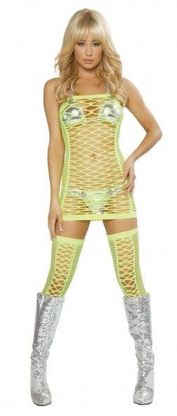 087f31b8f455 Net Tube Dress in Neon Yellow by J.Valentine | JValentine | Fishnet ...
