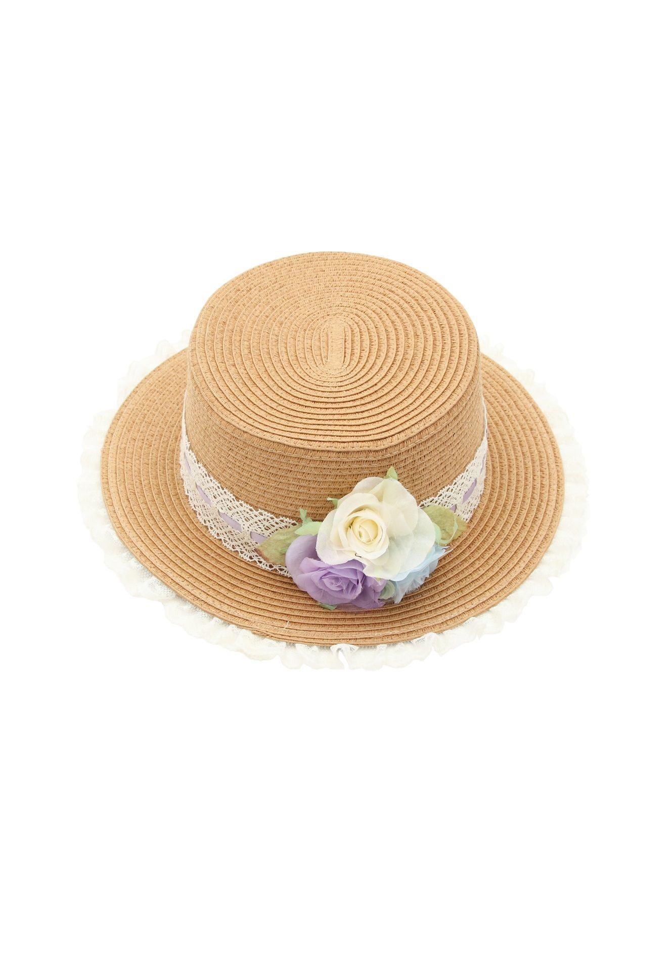 フラワーレーシー雑材帽子