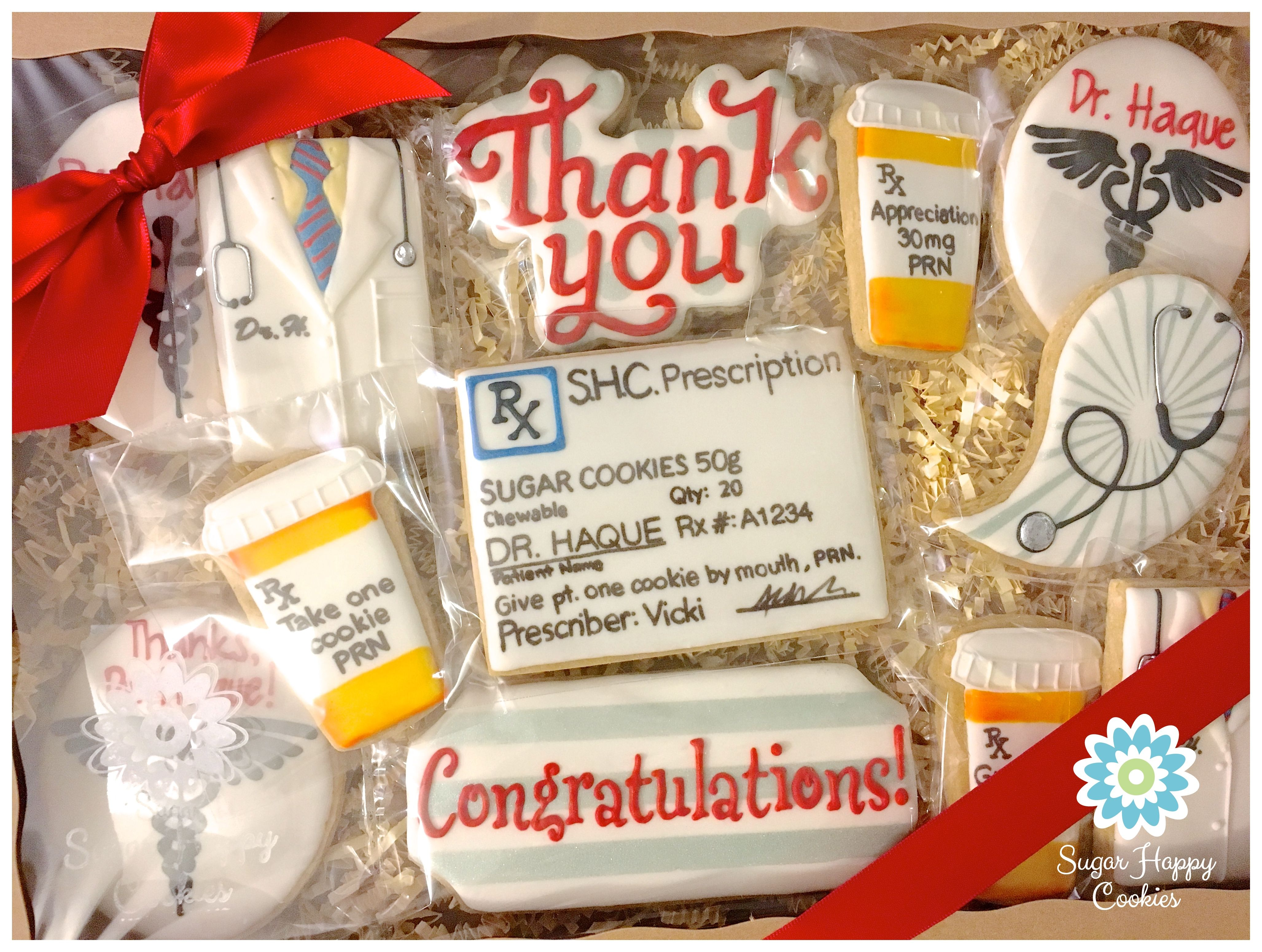 2ff93a4059d doctor retirement sugar cookie gift set, thank you gift, royal icing, pill  bottle, lab coat