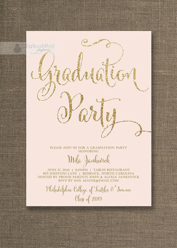 blush pink gold graduation party invitation with gold glitter by