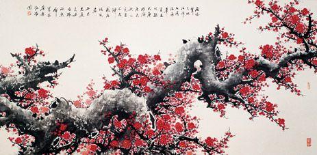 Estampe japonaise japon cerisier japonais fleur de cerisier et cerisier - Dessin arbre japonais ...