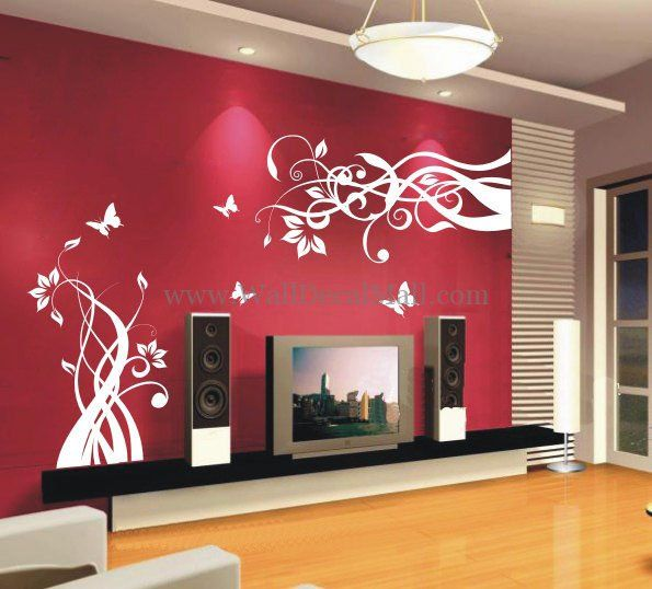 Lovely Flower With Butterfly Wall Decals– WallDecalMall.com | Flower ...