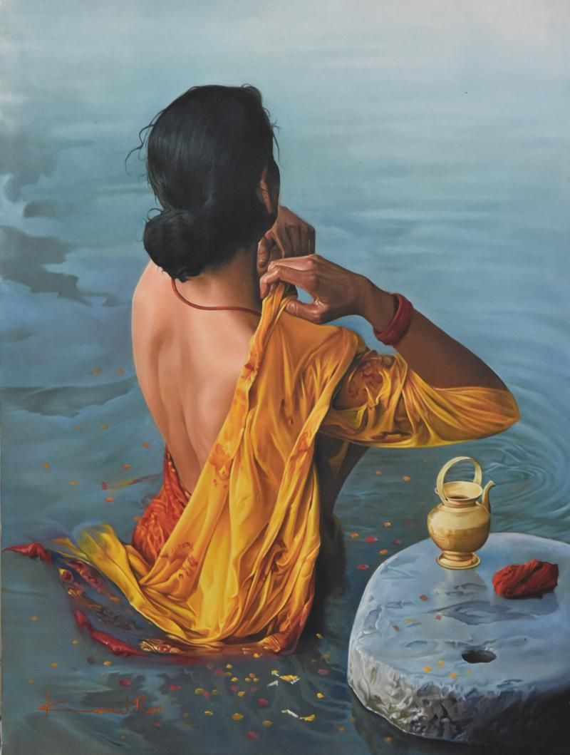Lady Painting By Kamal Rao Artzolo Com Indian Art Paintings Indian Paintings Woman Painting