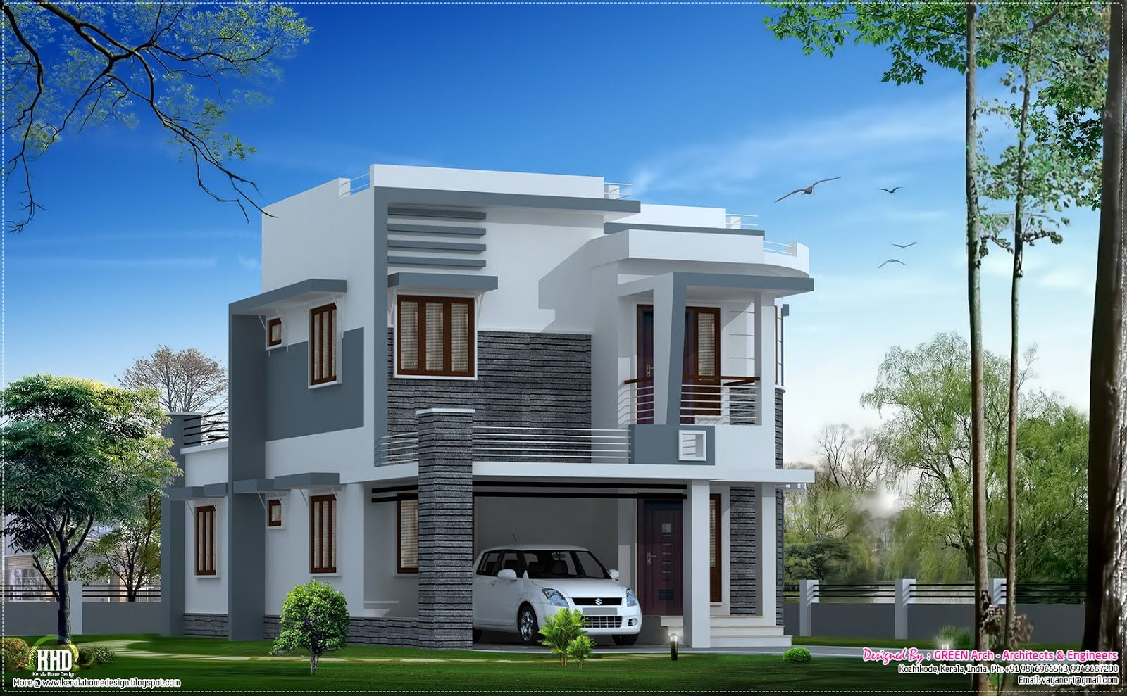 Superb Cute Contemporary Home Design Part - 9: Modern House | Beautiful 1650 Sq.feet Modern Home Design