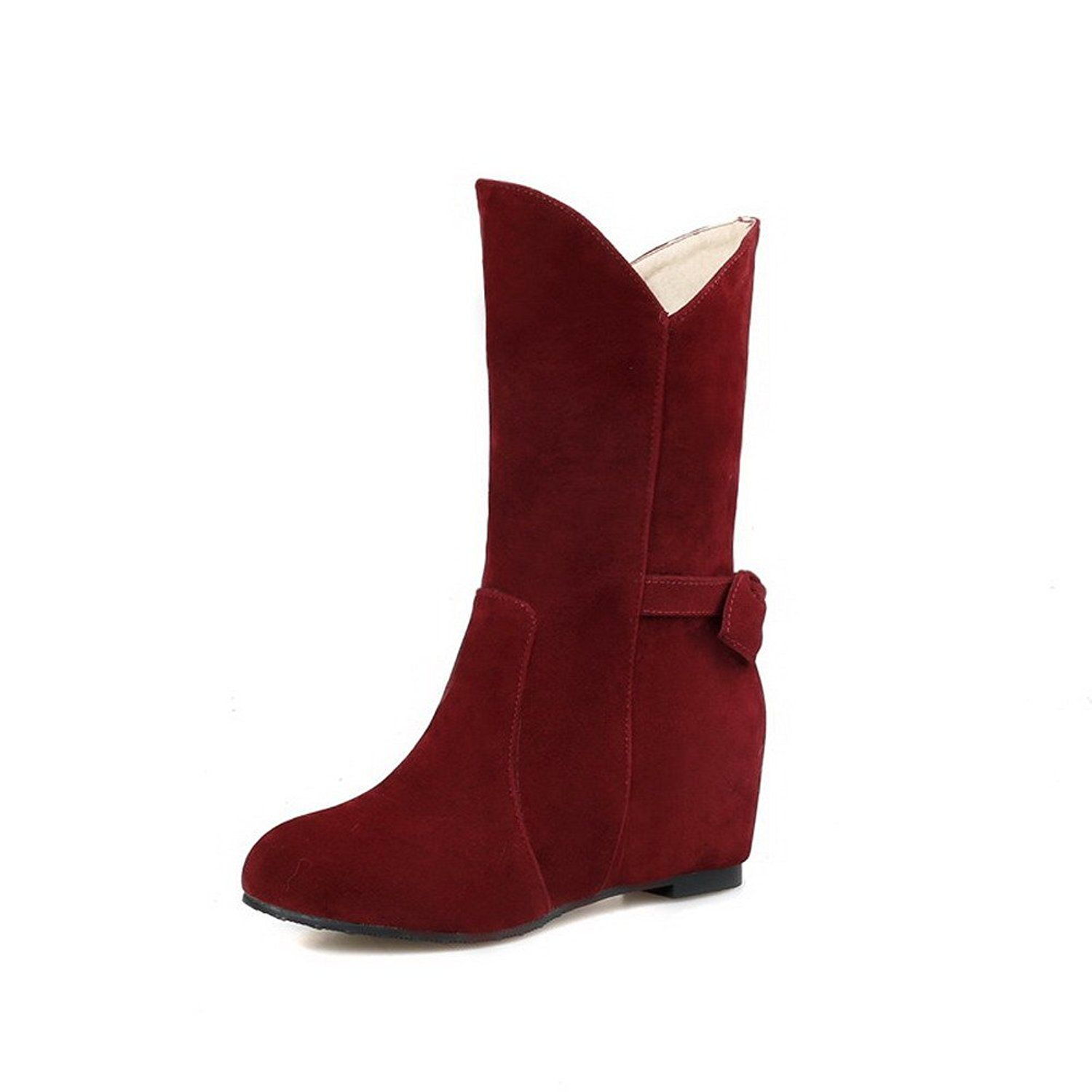 WeiPoot Womens Solid PU Kitten-Heels Pull-on Round Closed Toe Boots