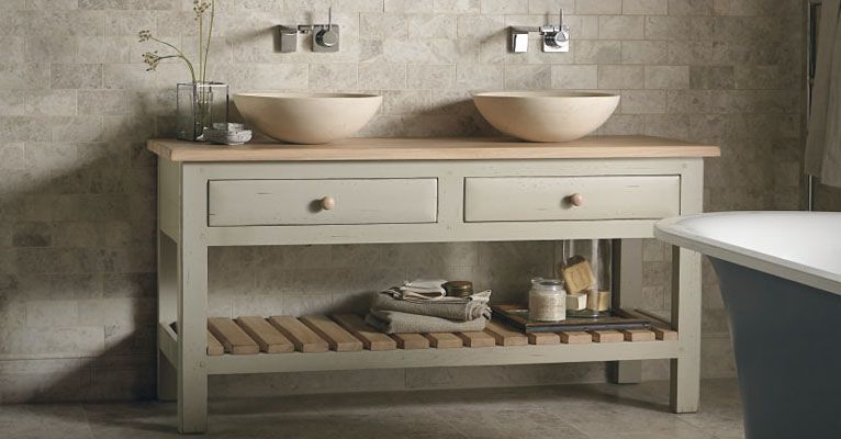 Fired Earth - Bastide Open Washstand (looking like a solid kitchen island)  with useful storage in the drawers and the oak shelf.
