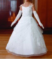 $92.72 Charming Spaghetti Straps Embroidery Backless Layered Floor Length Flower Girl Dress