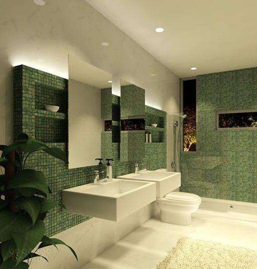 Bagno Con Idromassaggio Parquet Ed Archi Interior Design : Piastrelle mosaico in bagno verdi sinks