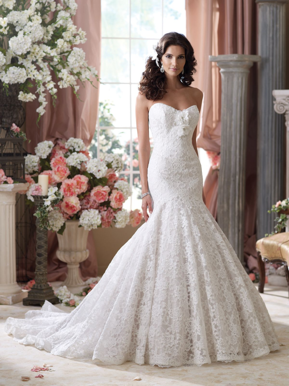 Strapless Allover Alencon Lace Mermaid Wedding Dress Sweetheart Neckline Features Detachable Hand Beaded Three