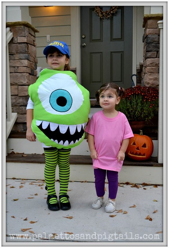Mike and Boo from Monsters Inc. Halloween Costumes from Palmettos and Pigtails  sc 1 st  Pinterest & Mike and Boo from Monsters Inc. Halloween Costumes from Palmettos ...