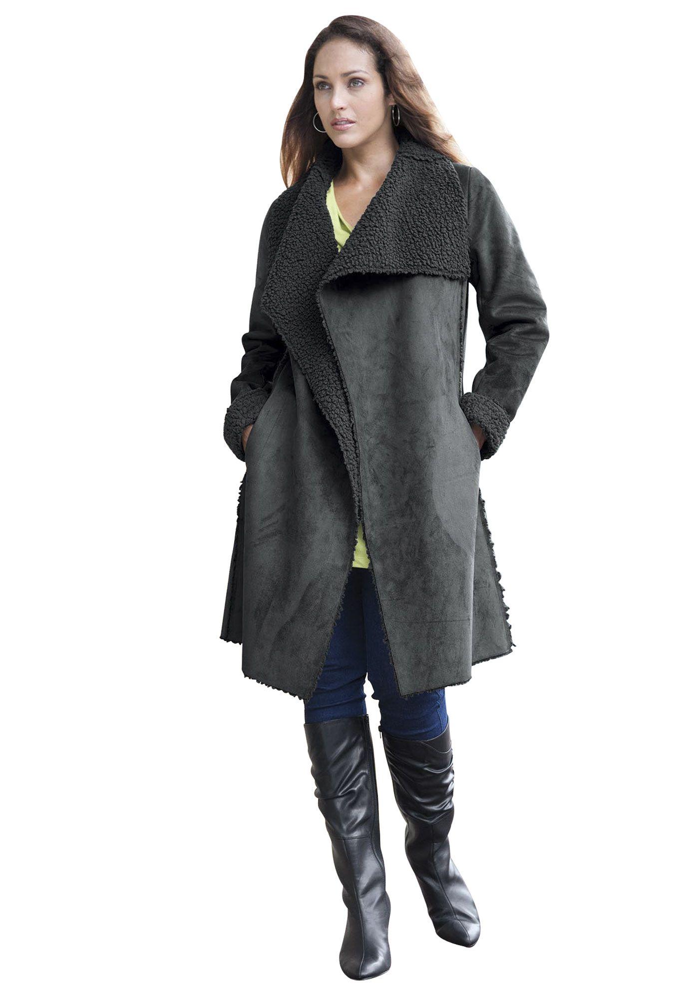 7f1990f3355f1 Plus Size Faux Shearling Coat