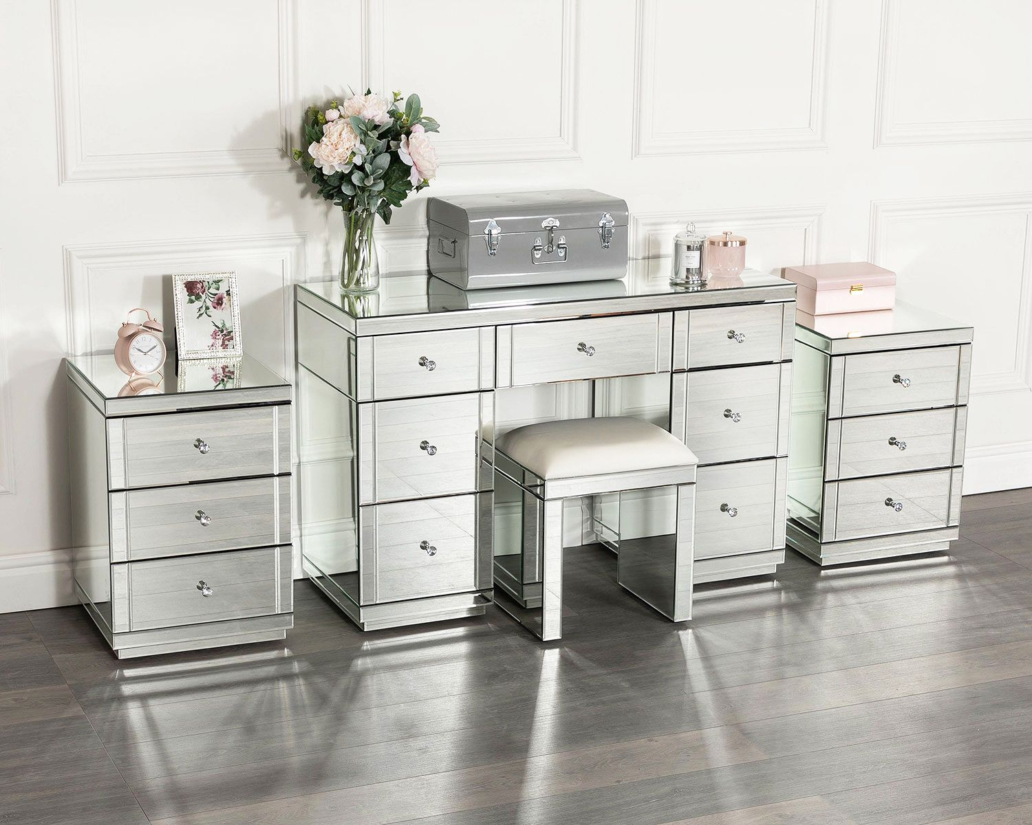 Monroe Dressing Table Set With 2 X 3 Drawer Bedside Tables And Mirrored Stool In Silver Dressing Table Set Mirrored Bedroom Furniture Dressing Room Design