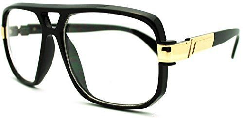 663c0d0653f3 VW Eyewear - Classic Square Frame Plastic Flat Top Aviator Glasses  w Metal  Trimming and Clear Lens